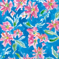 "5"" Square Pink Flowers On Blue Beverage Napkin"