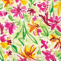 """5"""" Square Pink and Yellow Flowers On Green Beverage Napkins"""