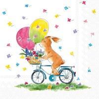 """5"""" Square Brown Bunny On Bike Beverage Napkin"""