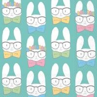 """5"""" Square Bunnies In Glasses Beverage Napkin"""