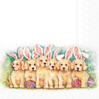 """5"""" Square Puppies With Bunny Ears Beverage Napkins"""