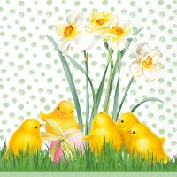 """6.5"""" Square Chicks With Eggs Lunch Napkin"""
