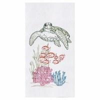 "18"" x 27"" Turtle With Fish Flour Sack Kitchen Towel"
