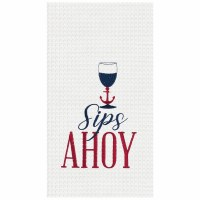 "18"" x 27"" Sips Ahoy Waffle Woven Kitchen Towel"
