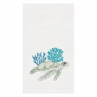 "18' x 27"" Turtle Reef Waffle Woven Kitchen Towel"