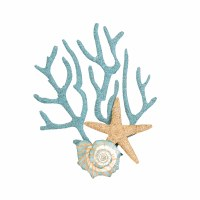 "19"" Coral With Starfish Metal Wall Plaque"