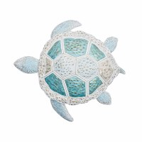 "18"" White, Gold and Aqua Turtle Wall Plaque"