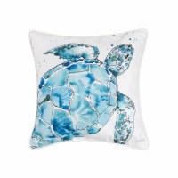 "18"" Square Blue Turtle Pillow"