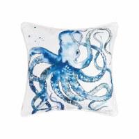 "18"" Square Blue Octopus Pillow"