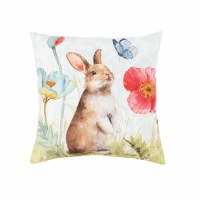 """18"""" Square Brown Bunny With Butterfly Pillow"""