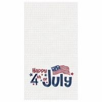 "18"" x 27"" Happy 4th Waffle Woven Kitchen Towel"