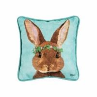 "8"" Square Brown Bunny On Aqua Pillow"