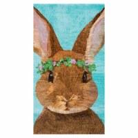 "18"" x 27"" Brown Bunny On Aqua Kitchen Towel"