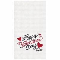 "18"" x 27"" Happy Valentine's Day Waffle Woven Kitchen Towel"