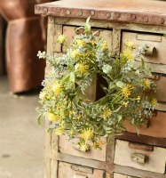 """3"""" Yellow Flower With Frosted Green Leaves Candle Ring"""