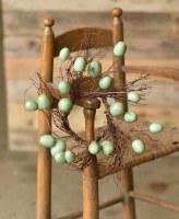 "3.5"" Aqua Egg and Twig Candle Ring"