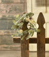 """4.5"""" Cream Flowers With Frosted Green Leaves Candle Ring"""