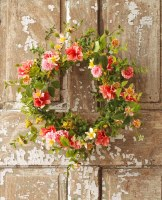 """22"""" Coral, Pink and Yellow Flower Wreath"""