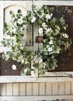 "22"" White Faux Flower With Eucalyptus Leaf Wreath"