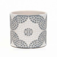 """4"""" Round White and Gray Faux Mosaic Pot"""