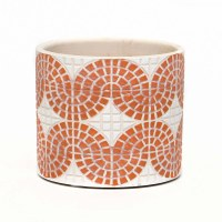 """4"""" Round Coral and White Faux Mosaic Pot"""