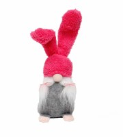 "8"" Pink Bunny Ear Gnome"