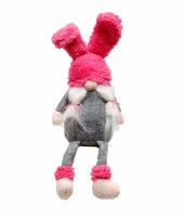 "11"" Pink Bunny Ear Hat Gnome Sitting"