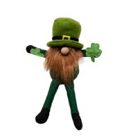 """9"""" St. Patrick's Gnome With Red Beard Sitting"""