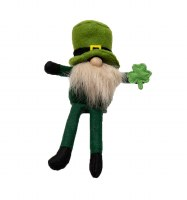 """9"""" St. Patrick's Gnome With White Beard Sitting"""