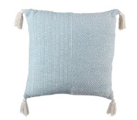 "18"" Square Light Blue and White Pillow With Tassles"