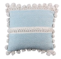 "18"" Square Light Blue and White Pom Pom Pillow"