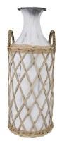 "20"" Antique White Metal Vase With Wicker Basket"