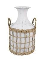 "13"" Antique White Metal Vase With Wicker Basket"