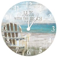 "16"" Round Life Is Right At The Beach Wall Clock"
