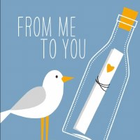 "5"" Square From Me To You Seagull Beverage Napkin"