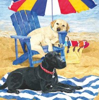 """5"""" Square Dog Days of Summer Beverage Napkin"""