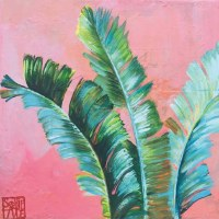 "5"" Squre Miami Fronds On Pink Beverage Napkin"