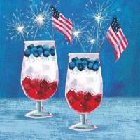 """5"""" Square Patriotic Parfait Beverage Napkin"""