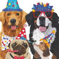 "5"" Square Party Pooches Beverage Napkin"