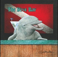 "5"" Square Dive Bar Dolphin Beverage Napkin"