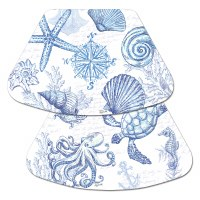 """17"""" x 12"""" Blue and White Shell Wedge Placemat"""