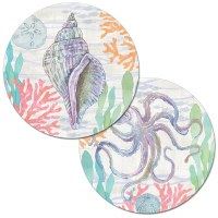 """13.5"""" Round Multipastel Shell and Octopus Reversible Placemat"""
