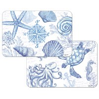 """11"""" x 17"""" Blue and White Shells Reversible Placemat"""