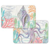 """11"""" x 17"""" Multipastel Shell and Octopus Reversible Placemat"""