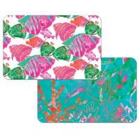 "11"" x 17"" Pink, Orange and Green Fish Reversible Placemat"