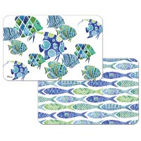 """11"""" x 17"""" Blue and Green Fish Reversible Placemat"""