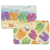 """11"""" x 17"""" Multicolored Flip Flop In Sand Reversible Placemat"""