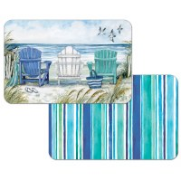 """11"""" x 17"""" Aqua and Blue Chairs On Beach Reversible Placemat"""