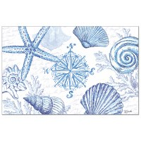 """Pad of 24/ 11"""" x 17"""" Blue and White Shell Paper Placemat"""