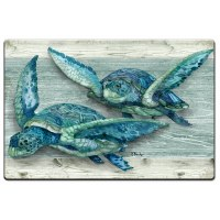"20"" x 30"" 2 Blue and Green Turtles Cushion Mat"